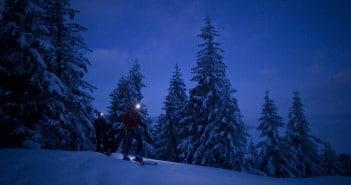 Nacht Skitour hinauf zur Kolbensattelhütte in den Ammergauer Alpen
