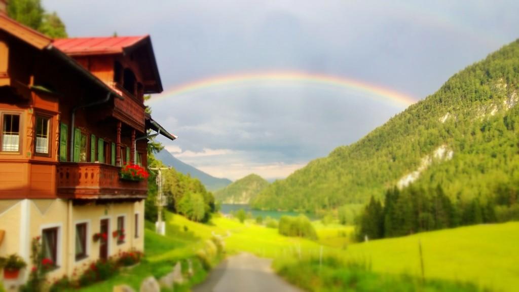 Triol bei Regen - Blick auf den Hintersteiner See
