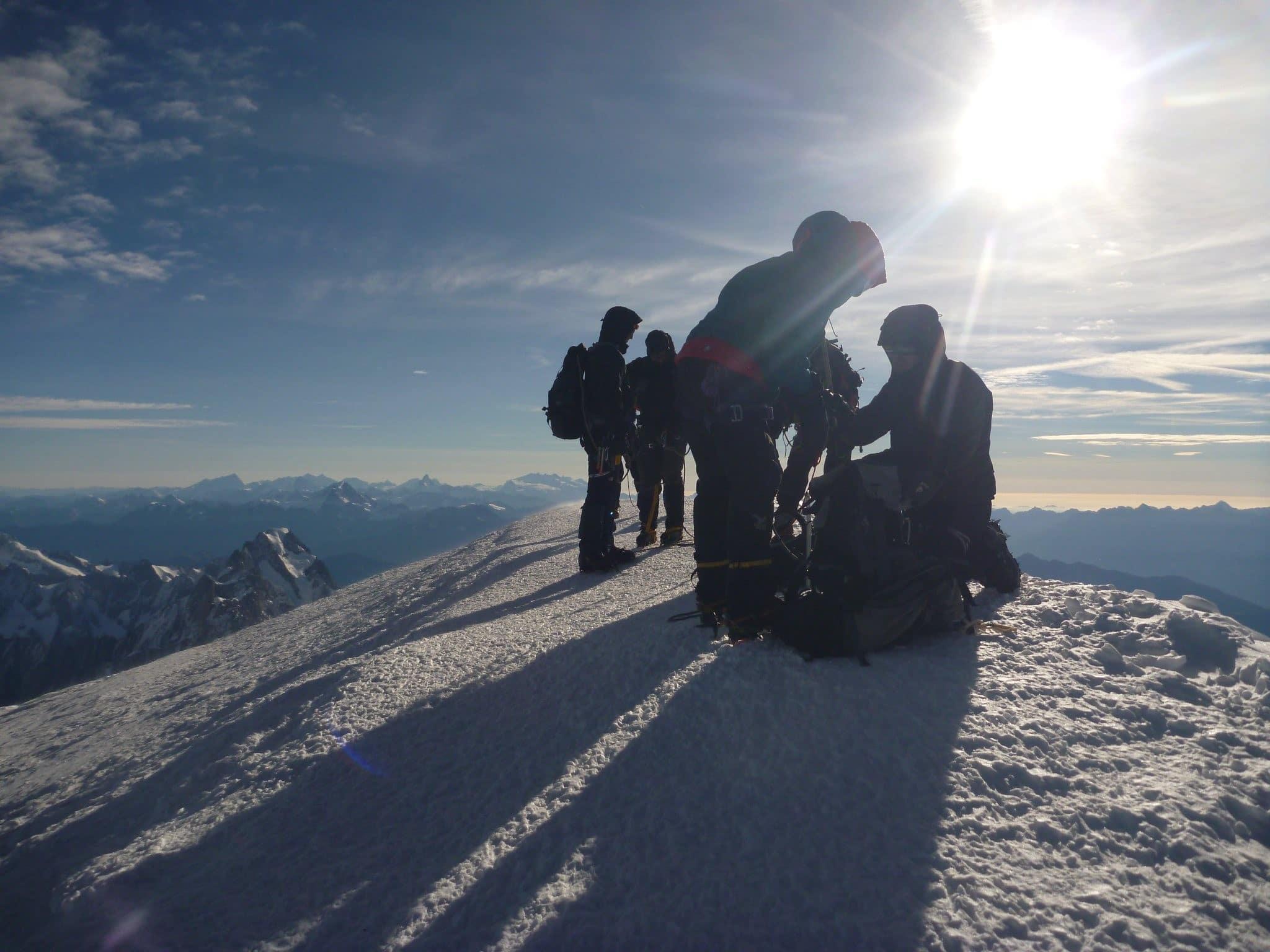 Mont Blanc - Gipfel bei Sonnenaufgang
