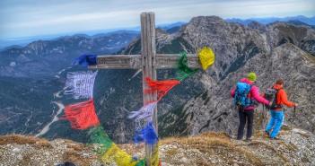Geierkopf: Gratwanderung in den Ammergauer Alpen. Im Hintergrund der mittlere Geierkopf