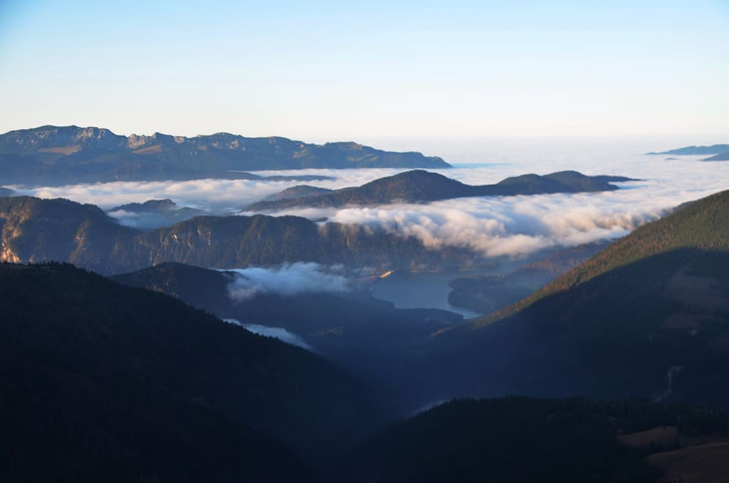 Taumblick vom Stierjoch auf den Slyvensteinsteinstausee im Karwendel