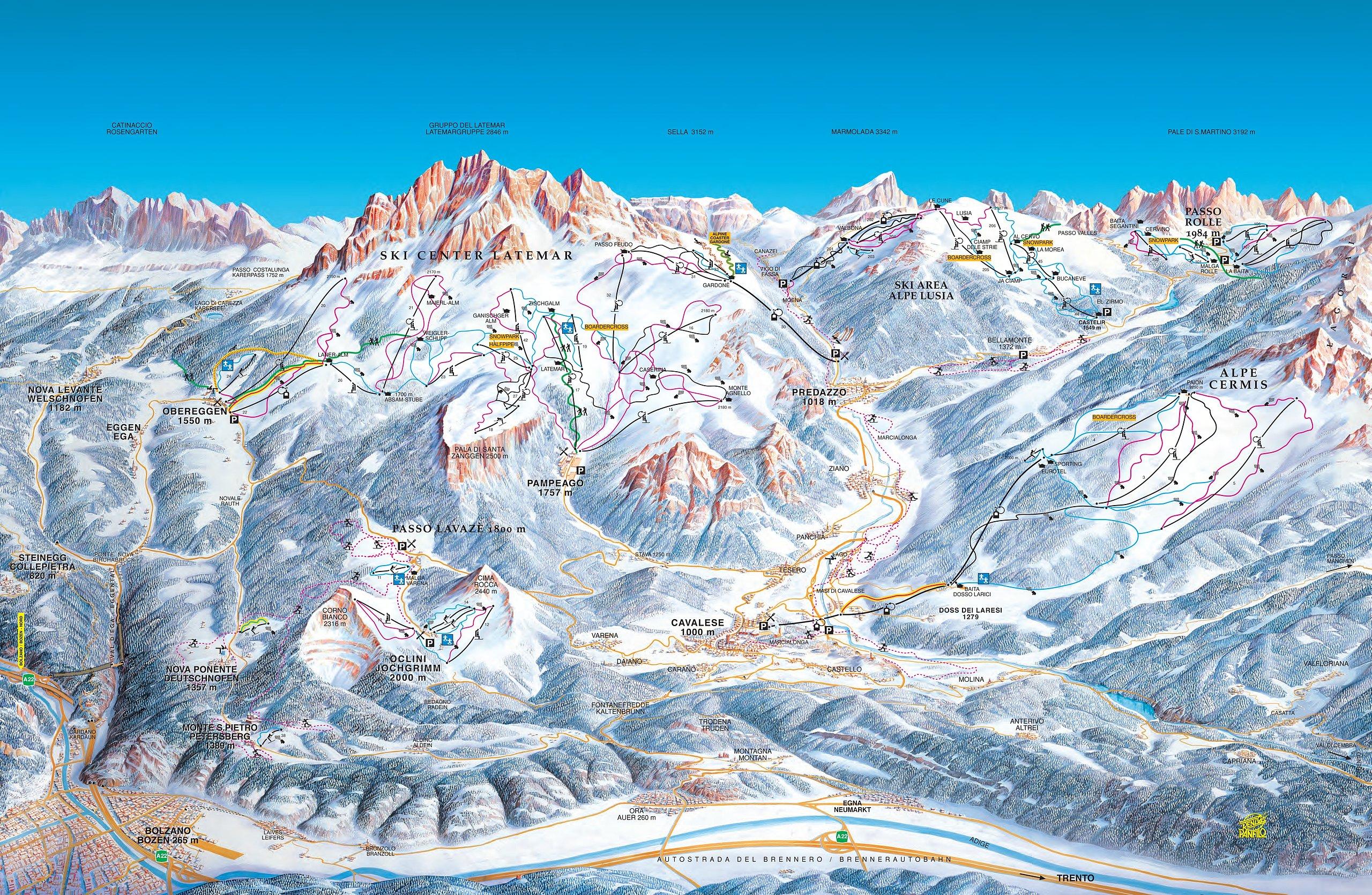 Pistenplan Obereggen Skigebiet