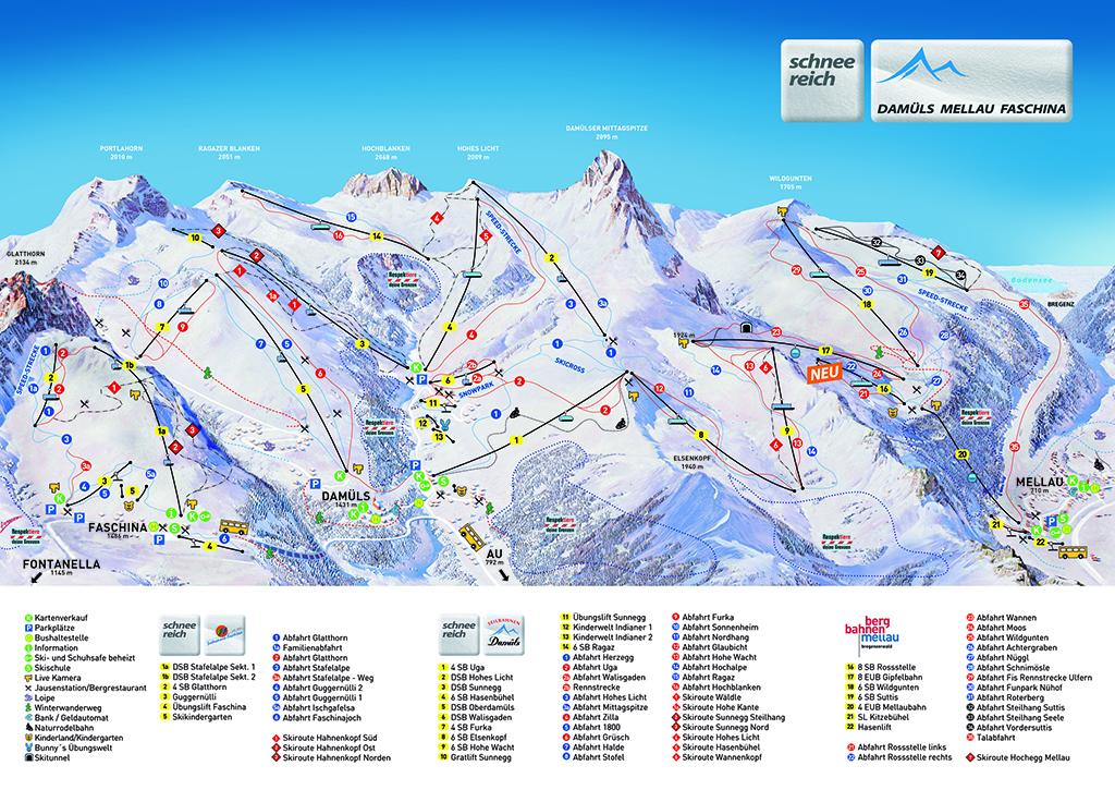 Skigebiet Damüls Pistenplan (c) Alpenregion Bludenz