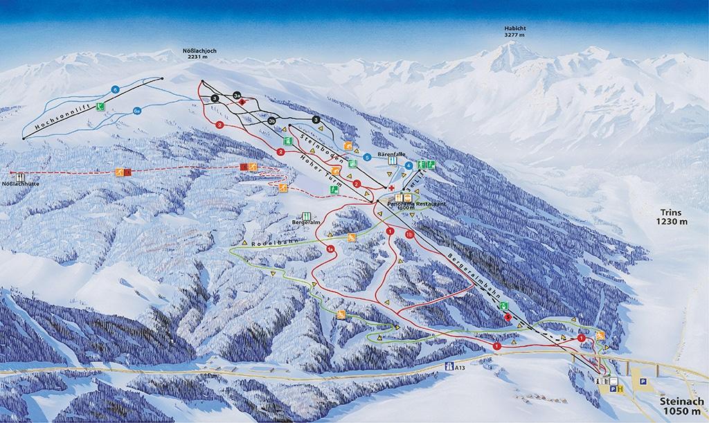 Pistenplan Skigebiet Bergeralm