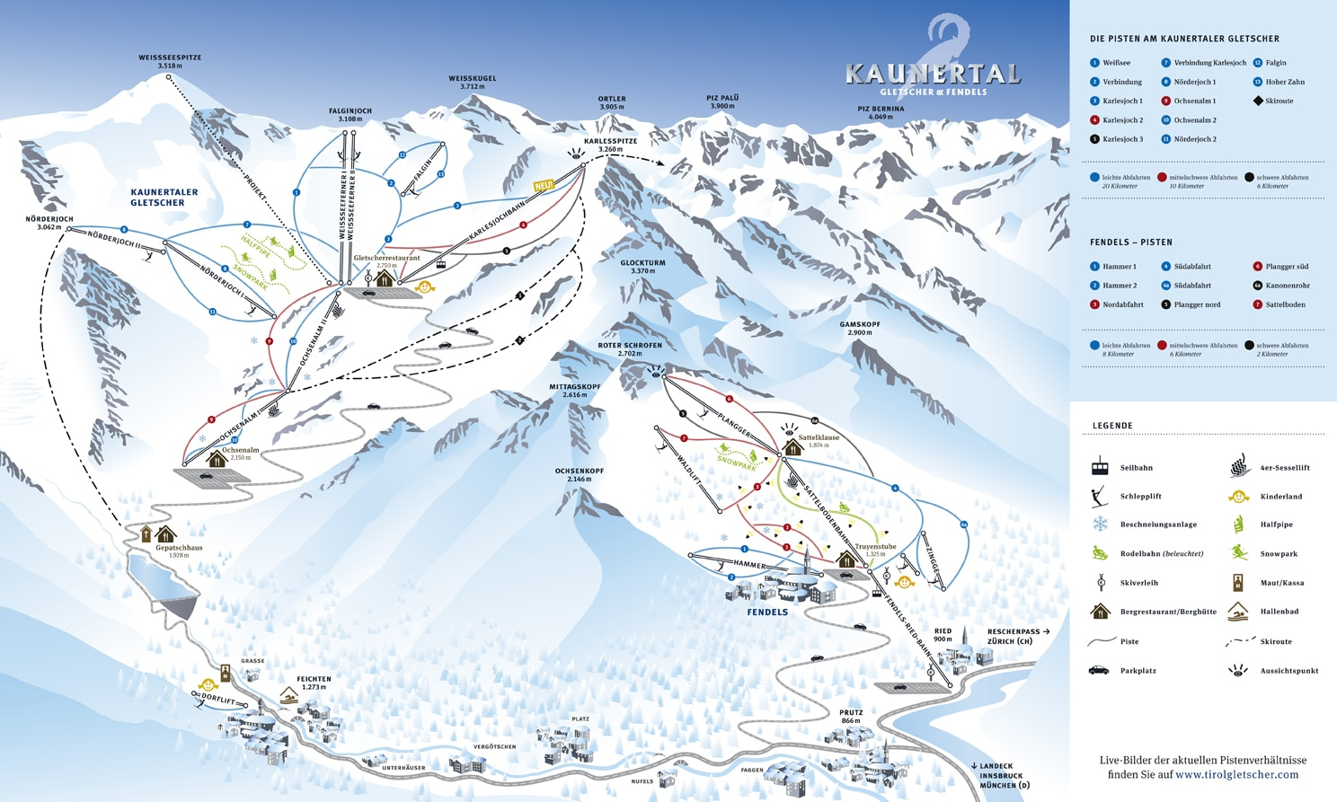 Pistenplan Kaunertaler Skigebiet