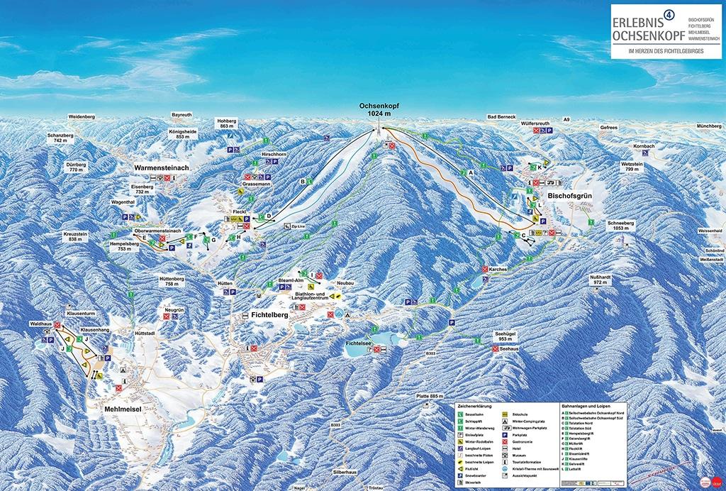 Skigebiet Ochsenkopf im Fichtelgebirge