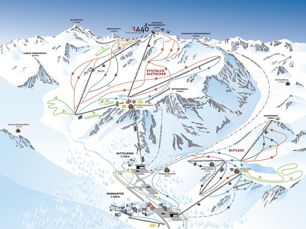 Pitztal Skigebiet Pistenplan