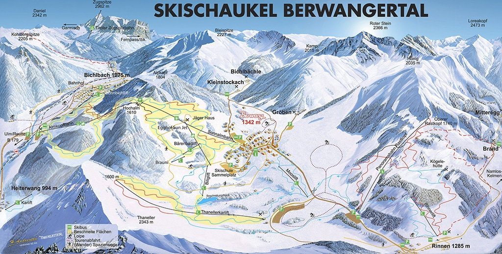 Pistenplan Skigebiet Berwang