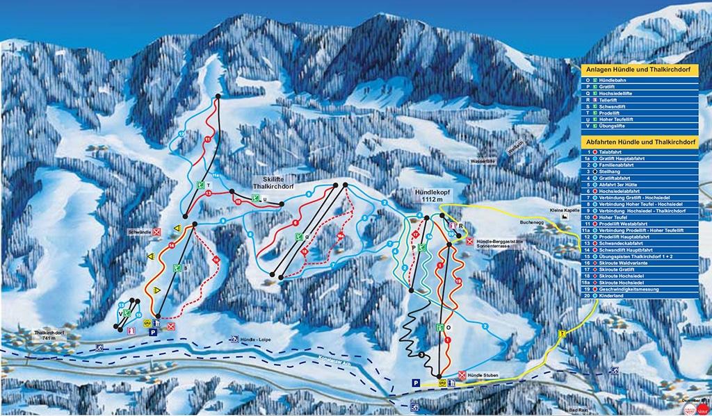 Pistenplan Hündle Skigebiet