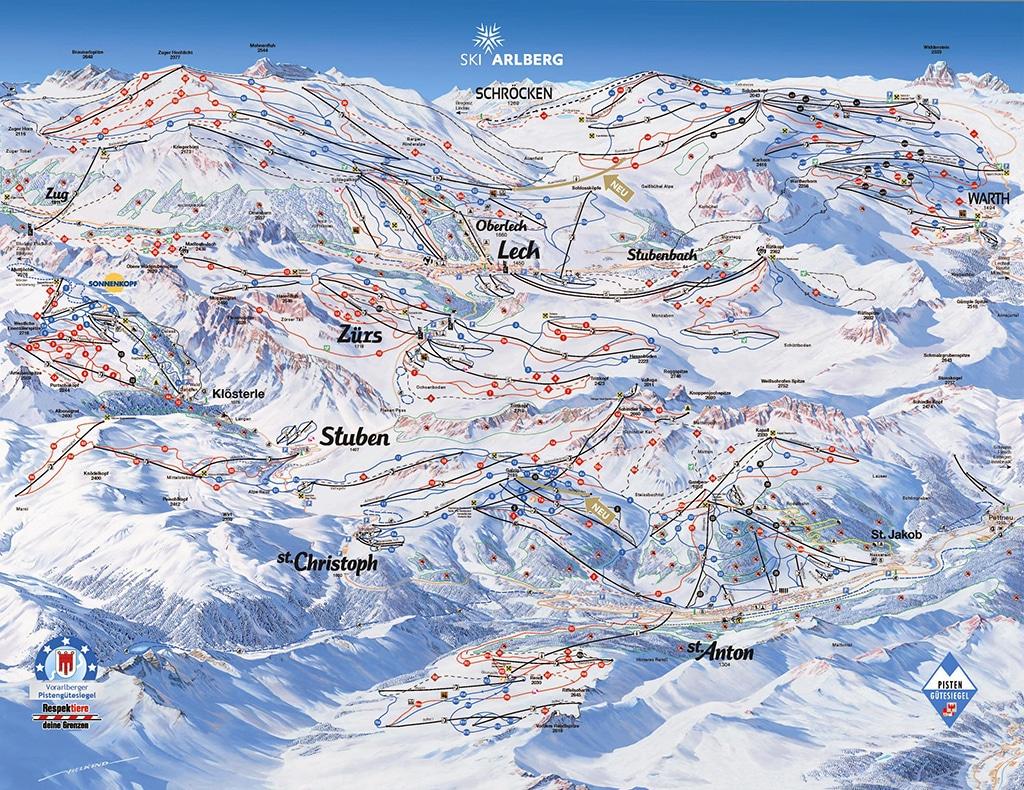 Pistenplan Skigebiet St. Anton