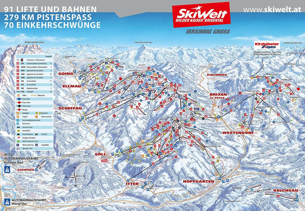 Pistenplan Skiwelt Brixen im Thale