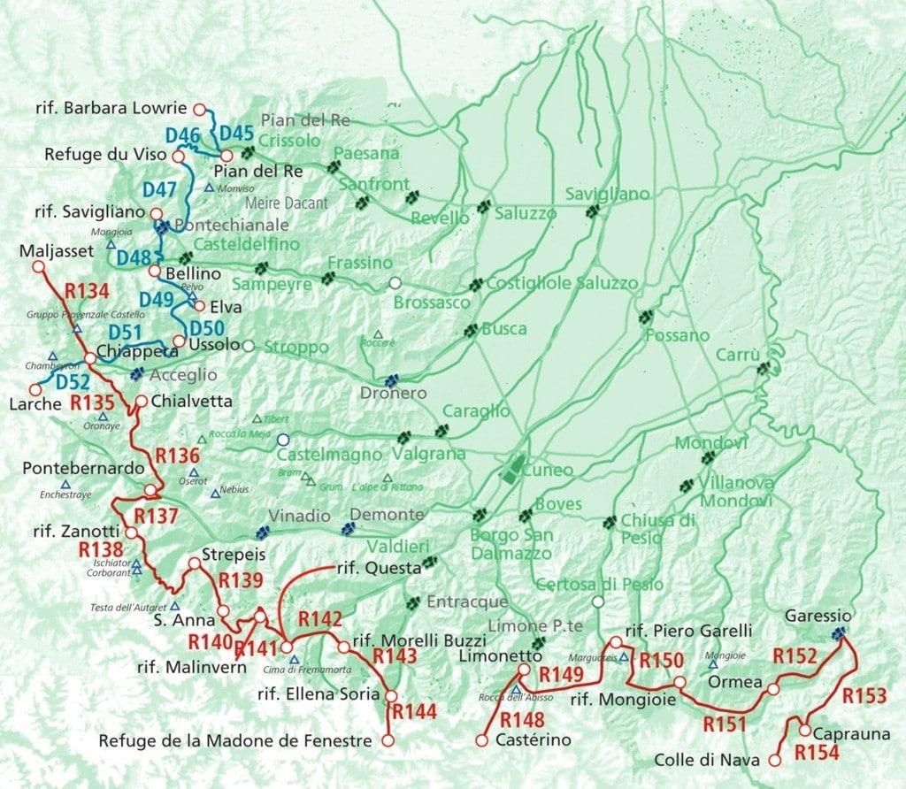 Karte Via Alpina
