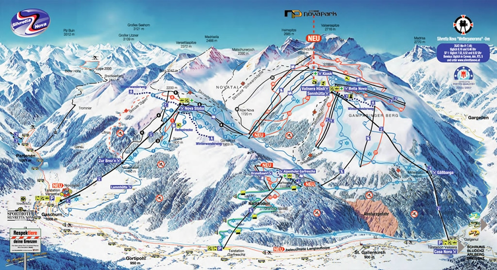 Silvretta Nova Skigebiet Pistenplan